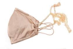 House of Silk - 100% Silk Honey Coloured Face Mask with Gold Chain (1)