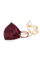 House of Silk - 100% Silk Claret Red Face Mask with Gold Chain (1)
