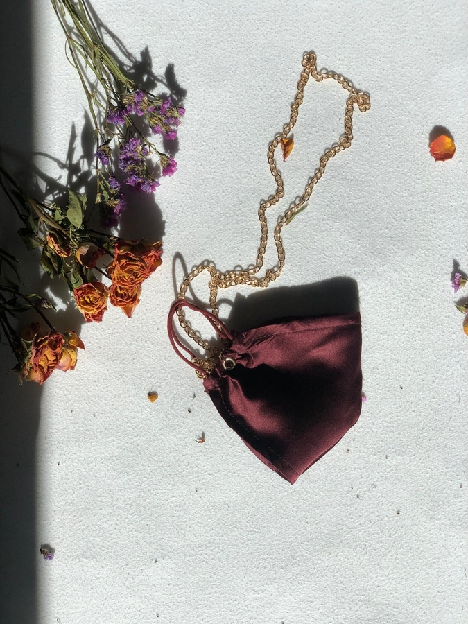 100% Silk Claret Red Face Mask with Gold Chain