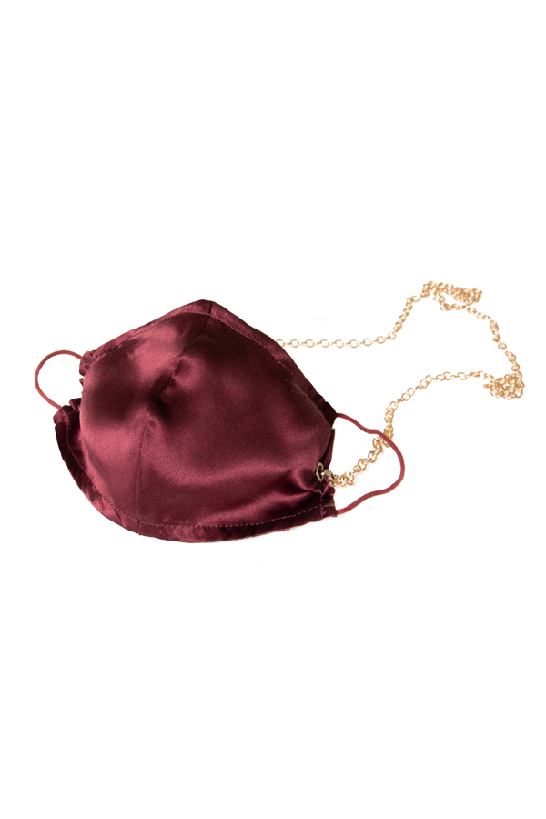 House of Silk - 100% Silk Claret Red Face Mask with Gold Chain