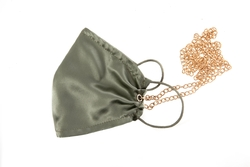 House of Silk - 100% Silk Pistachio Green Face Mask with Gold Chain (1)