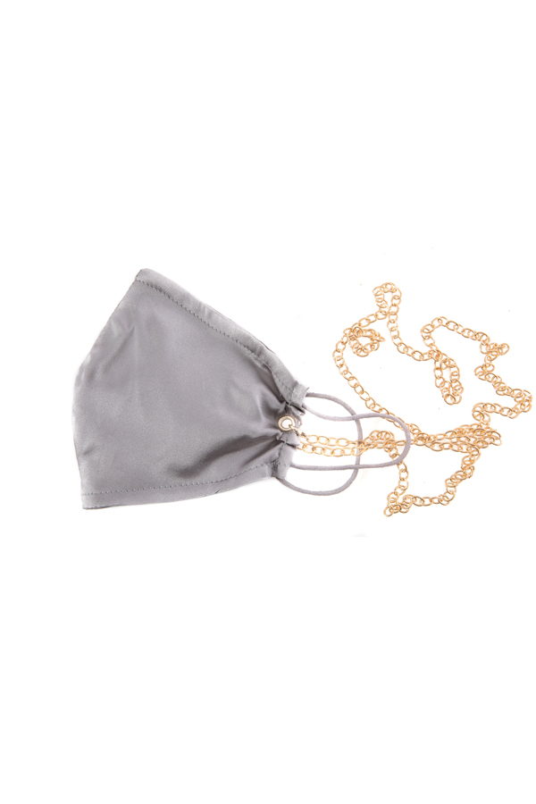 100% Silk Silver Face Mask with Gold Chain