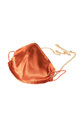 100% Silk Tile Red Face Mask with Gold Chain - Thumbnail