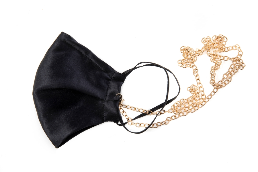 100% Silk Black Face Mask with Gold Chain