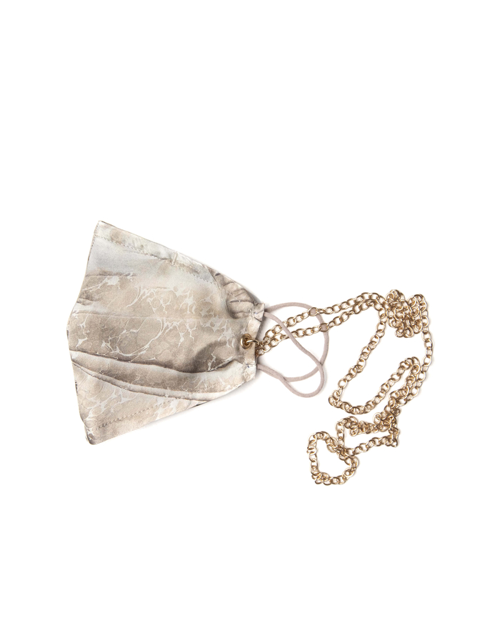 100% Silk Beige Marble Face Mask with Gold Chain