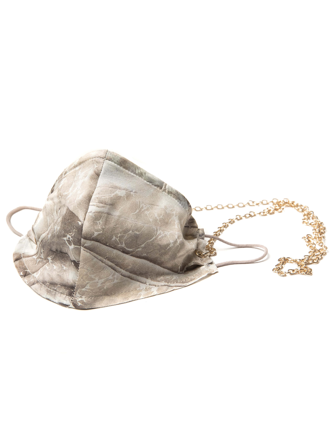 House of Silk - 100% Silk Beige Marble Face Mask with Gold Chain