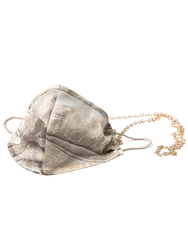 100% Silk Beige Marble Face Mask with Gold Chain - Thumbnail