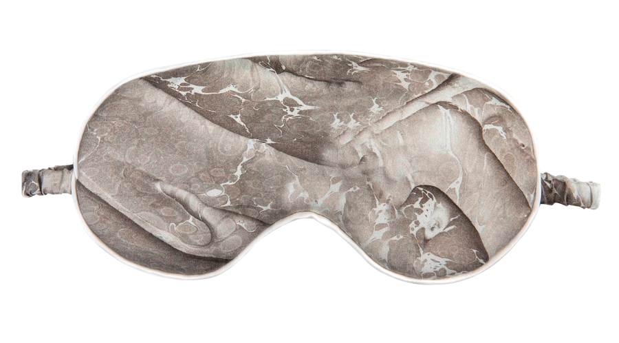 Hofsilk - 100% Silk Beige Marble Sleeping Mask & Sateen Bag