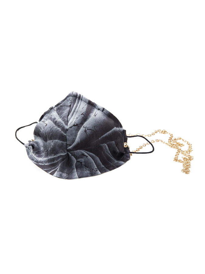 House of Silk - 100% Silk Blue Marble Face Mask with Gold Chain