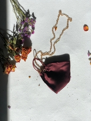 100% Silk Claret Red Face Mask with Gold Chain - Thumbnail