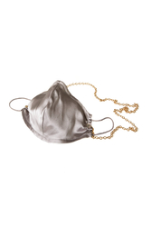 100% Silk Silver Face Mask with Gold Chain - Thumbnail