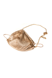 100% Silk Honey Coloured Face Mask with Gold Chain - Thumbnail