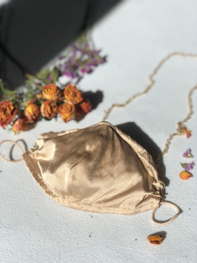 100% Silk Honey Coloured Face Mask with Gold Chain