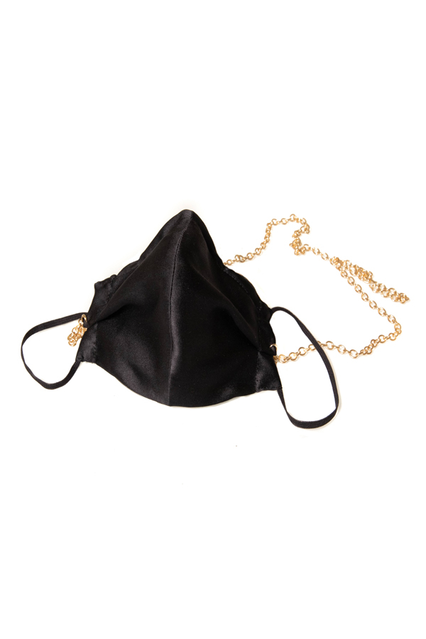 House of Silk - 100% Silk Black Face Mask with Gold Chain