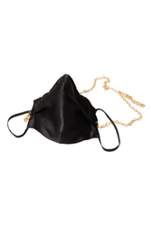 100% Silk Black Face Mask with Gold Chain - Thumbnail