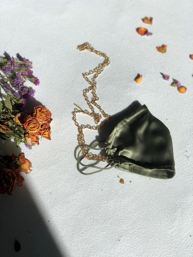 100% Silk Pistachio Green Face Mask with Gold Chain