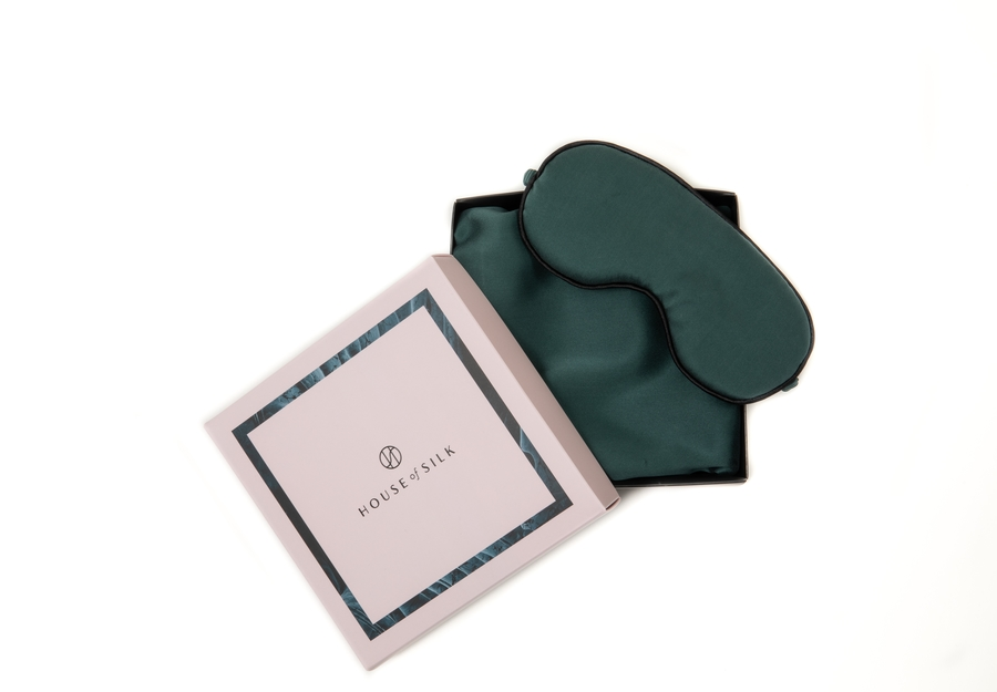 100% Silk Pillowcase Dark Green & Sleeping Mask