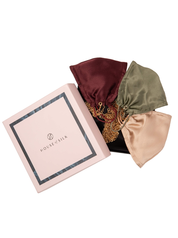 House of Silk - 3 pieces Silk Face Mask Set with Chain detail