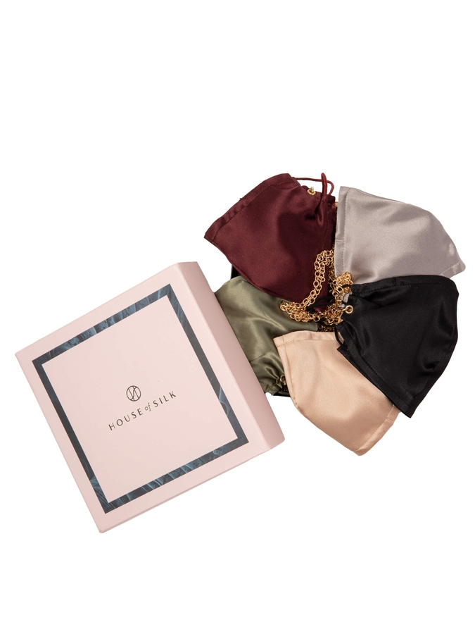 House of Silk - 5 pieces Silk Face Mask Set with Chain detail