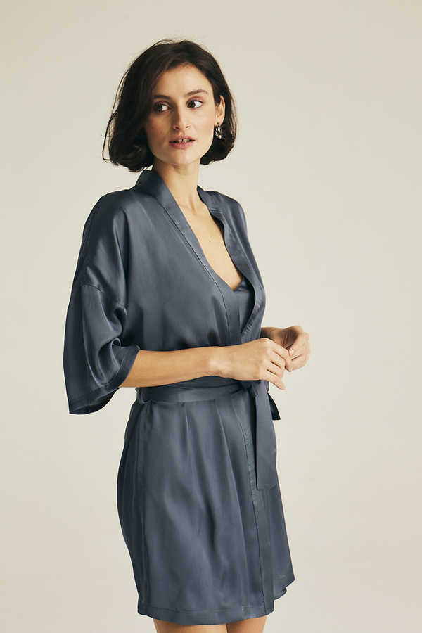 Hofsilk - Basic Matte Sateen Robe Blue-grey