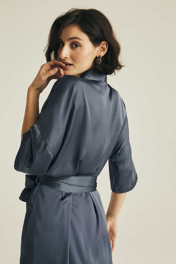 Hofsilk - Basic Matte Sateen Robe Blue-grey (1)