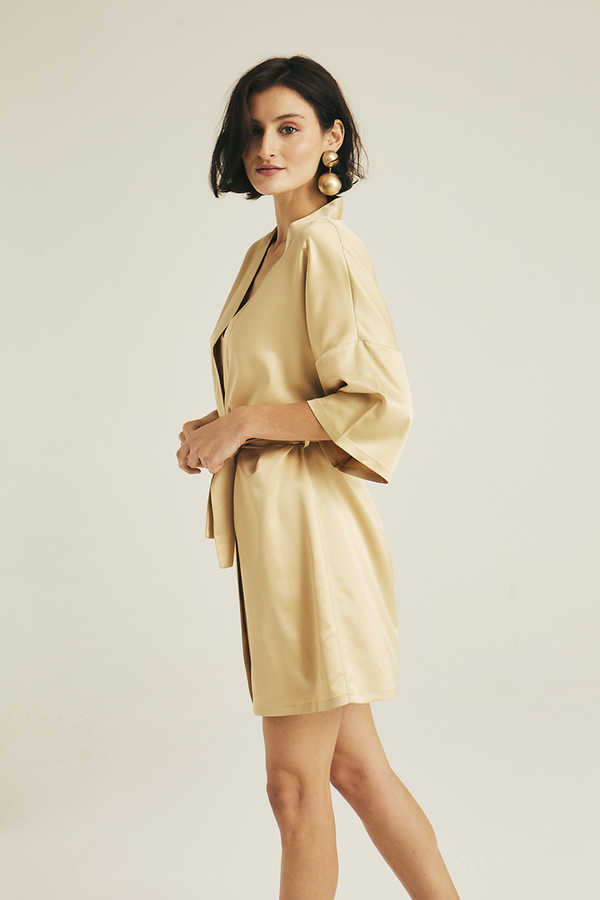 Hofsilk - Basic Matte Sateen Robe Matte gold