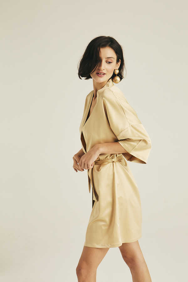 Hofsilk - Basic Matte Sateen Robe Matte gold (1)