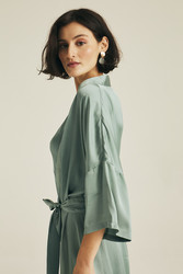 Hofsilk - Basic Matte Sateen Robe Watergreen