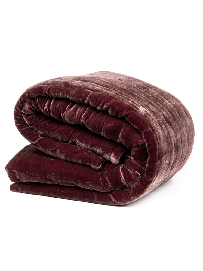 House of Silk Maison - Claret Red Velvet Throw