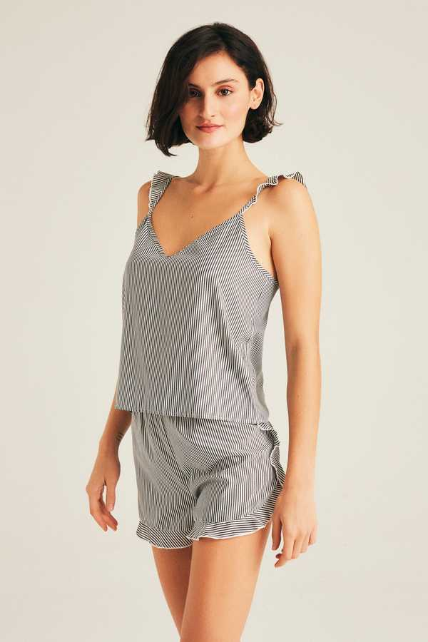 Hofsilk - Cotton Lined Ruffled Camisole & Short