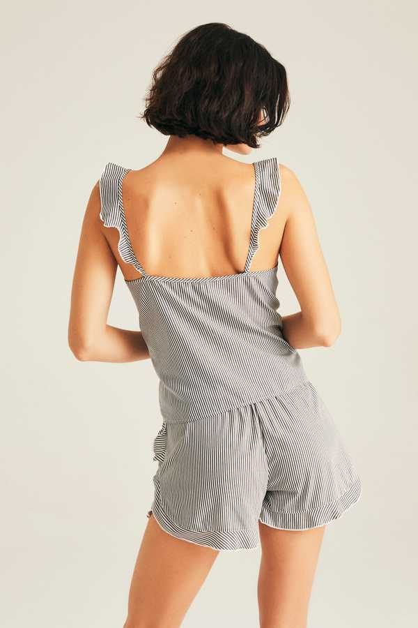 Cotton Lined Ruffled Camisole & Short