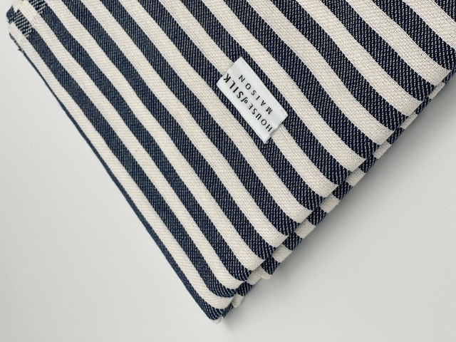 House of Silk - Cotton Navy Blue Striped Loincloth (1)
