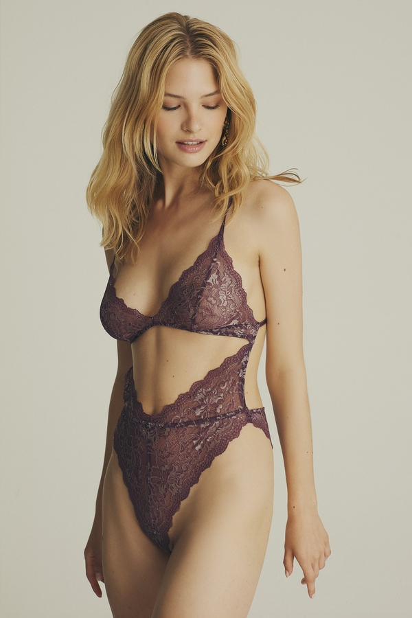 House of Silk - Cut Out Plum Colored Bodysuit (1)