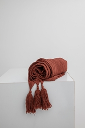 Dark Brick Linen Throw - Thumbnail