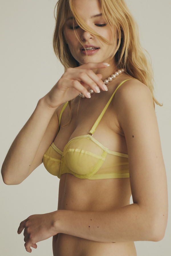 House of Silk - Ellie Soft Tulle Bra Lime Yellow