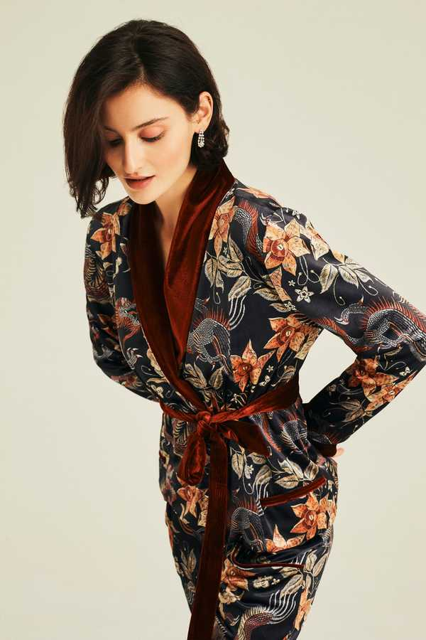 Hofsilk - Ethan Soft Velvet Dragon Robe Jacket