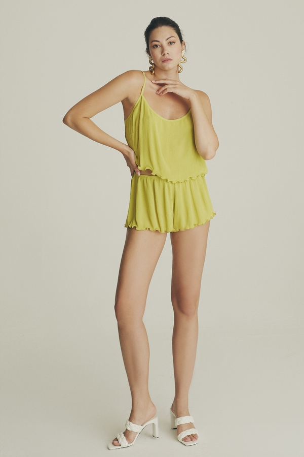House of Silk - Frilled Viscose Camisole Set Lime yellow