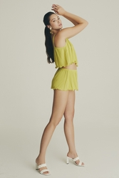 House of Silk - Frilled Viscose Camisole Set Lime yellow (1)