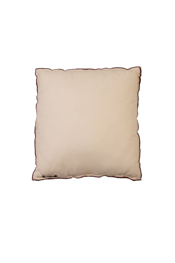 House of Silk Maison - Recycled Cotton Cushion Beige with Red lining detail