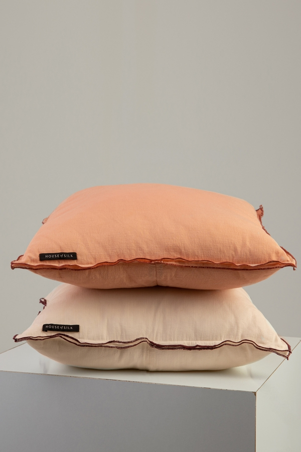 House of Silk Maison - Recycled Cotton Cushion Beige with Red lining detail (1)