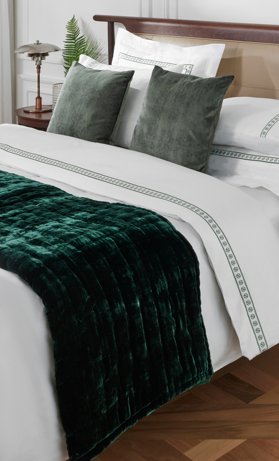 House of Silk Maison - Green Velvet Throw