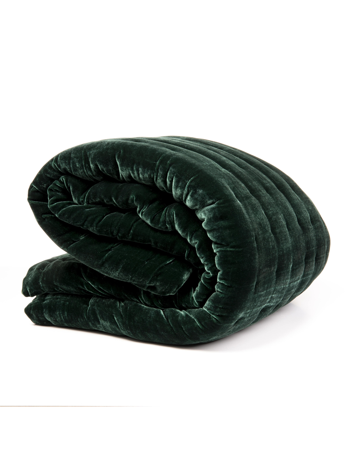 House of Silk Maison - Green Velvet Throw (1)
