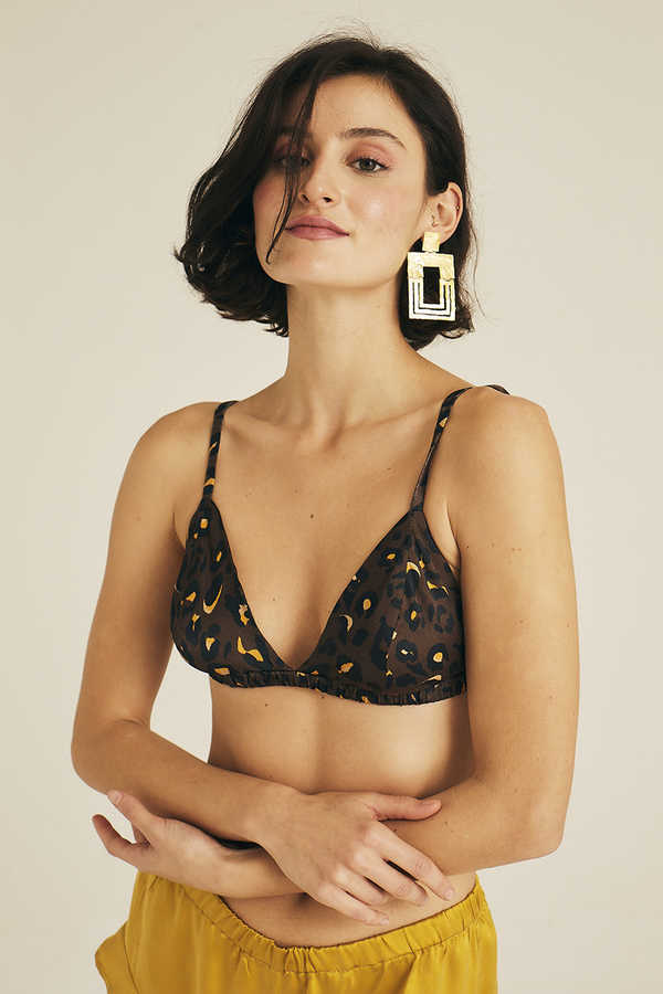 Hofsilk - Leopard Print Luxury Triangle Bra & Thong