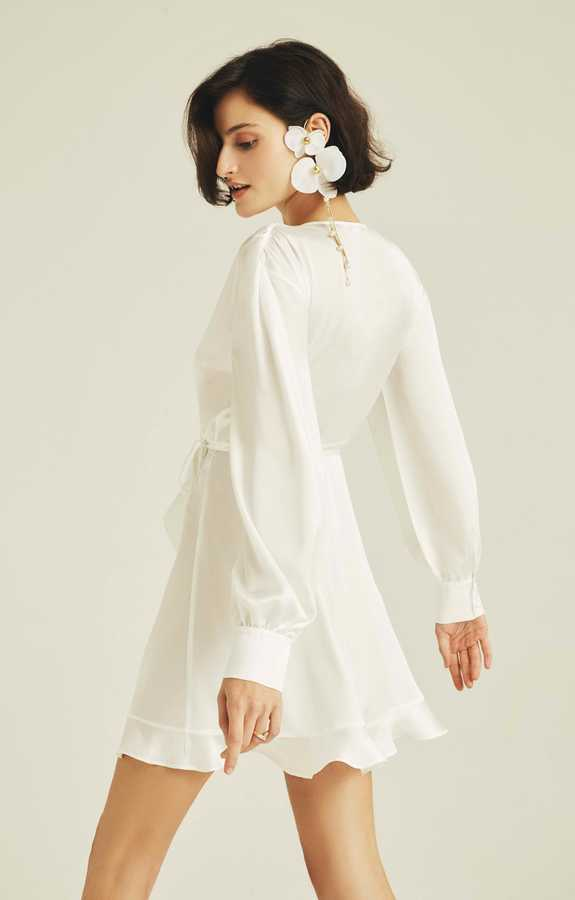 Hofsilk - Luxe Sateen Bridal Ruffle Dress Robe White (1)