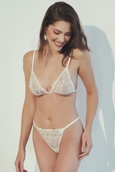 House of Silk - Luxe Shine White-Gold Lace Triangle Soft Thong (1)