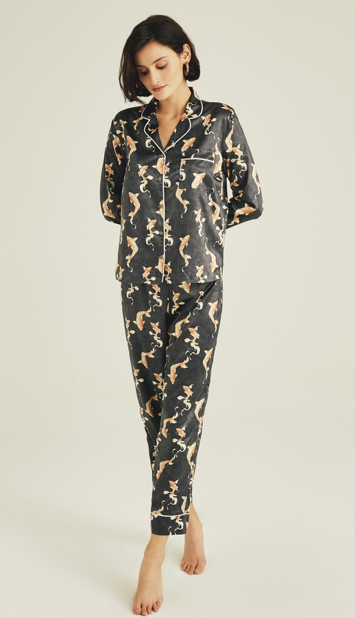 Hofsilk - Sateen Koi Fish Print Pyjama Suit