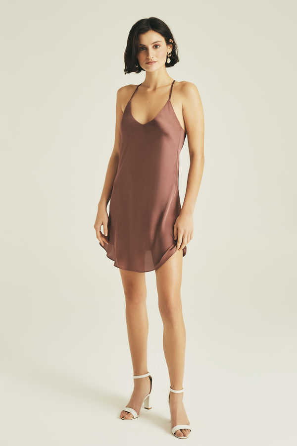 Hofsilk - Sateen Slip Dress Light Brown