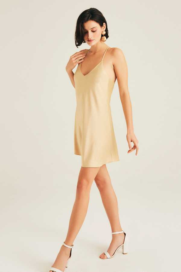 Hofsilk - Sateen Slip Dress Matte gold