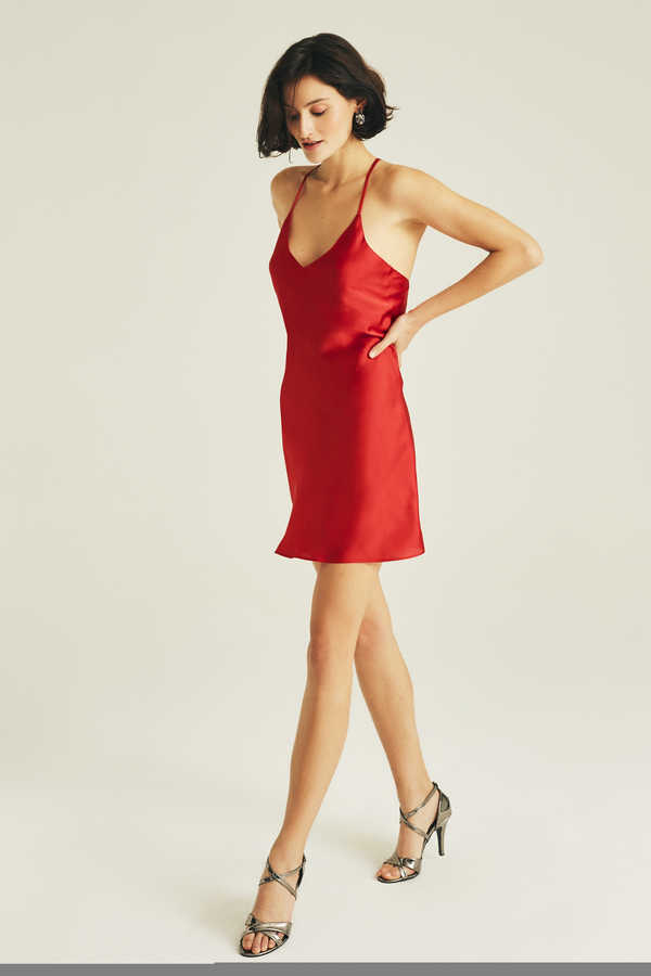 Hofsilk - Silk Red Slip Dress Mini