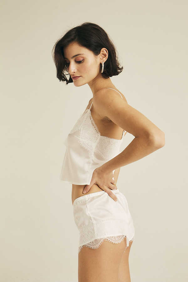 Hofsilk - Silk Camisole with Flower Lace detail White